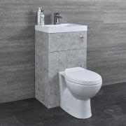 Toilet met ingebouwde wastafel - 50cm x 86cm x 87,5cm - Betongrijs