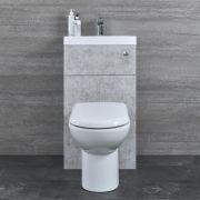 Toilet met ingebouwde wastafel - 50cm x 89cm x 89cm - Betongrijs