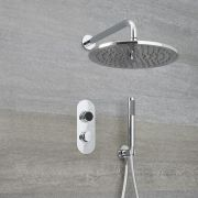 Narus - 2-weg Digitale Thermostaatkraan +  d.20cm Regendouchekop Muurbevestiging &  Handdouchecombi