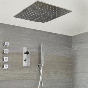 Narus - 3-weg Digitale Thermostaatkraan + 50 x 50cm Verzonken PlafondDouchekop + Handdouchecombi & Zijdouches