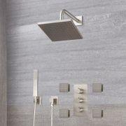 Harting 3-weg Thermostatische Douchekraan met Omstel & Vierkante Douchekop & Handdouche & Bodyjets - Geborsteld Nikkel