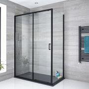 Doucheschuifdeur Zwart | Kies de Zijwand | Nox
