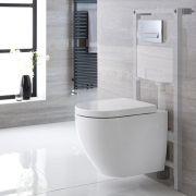 Ashbury Hangend Keramiek Toilet  incl Inbouwreservoir ( Large) en Keuze Spoelknop