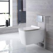 Sandford Hangend Keramiek Toilet Rechthoekincl Inbouwreservoir (Small) en Keuze Spoelknop