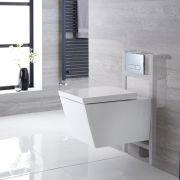 Halwell Hangend Keramiek Toilet Vierkant incl Inbouwreservoir (Small) en Keuze Spoelknop