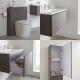 Newington Hangend Wastafelmeubel 80cm met Wasbak - Staand Toilet met Ombouw - Kast en Spiegel  Mat Grijs