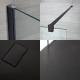 Inloopdouche Combinatie Zwart & Kunststenen Douchebak 170 x 80 cm