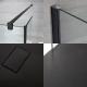 2-delige Inloopdouchecombinatie Zwart & Kunststenen Douchebak 140 x 80 cm