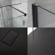 3 - delige Inloopdouche Combi Zwart Stabilisatiestangen & Douchebak Kunststeen 140 x 80cm