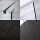 3-delige Inloopdouche Combi 2 Stabilisatiestangen Zwart & Kunststenen Douchebak 140 x 80cm