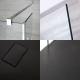 3-delige Inloopdouche Combi 2 Stabilisatiestangen Chroom & Kunststenen Douchebak 140 x 90cm