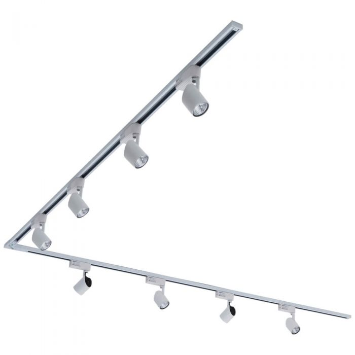 8 x 7W Led Railverlichting Incl Hoekverbinder - 2 x 2 Mtr. - L Model -Wit