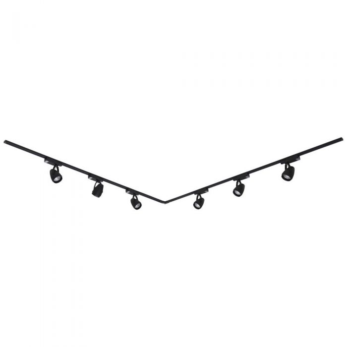 6 x 12W Led Railverlichting Incl Hoekverbinder - 2 x 2 Mtr. - L Model - Zwart