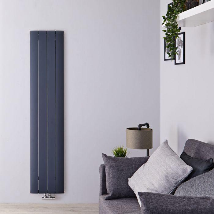 Designradiator Verticaal Aluminium Middenaansluiting Antraciet 160cm x 37,5cm 1226 Watt | Aurora