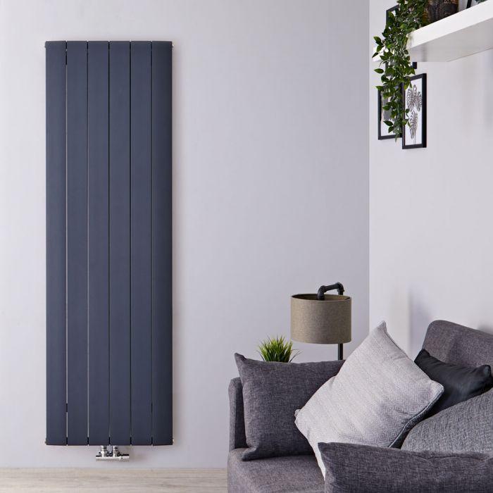 Designradiator Verticaal Aluminium Middenaansluiting Antraciet 180cm x 56,5cm 2075 Watt   Aurora