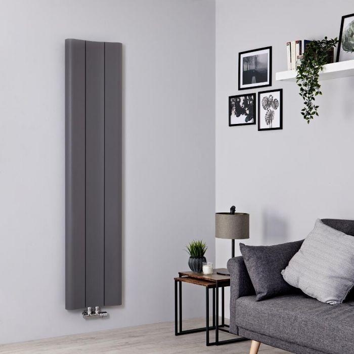 Designradiator Verticaal Aluminium Lichtgrijs 160 x 37cm 869Watt | Aloa