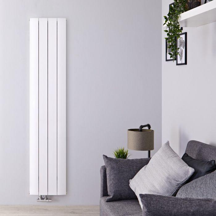 Designradiator Verticaal Aluminium Middenaansluiting Wit 180cm x 37,5cm 1384 Watt   Aurora