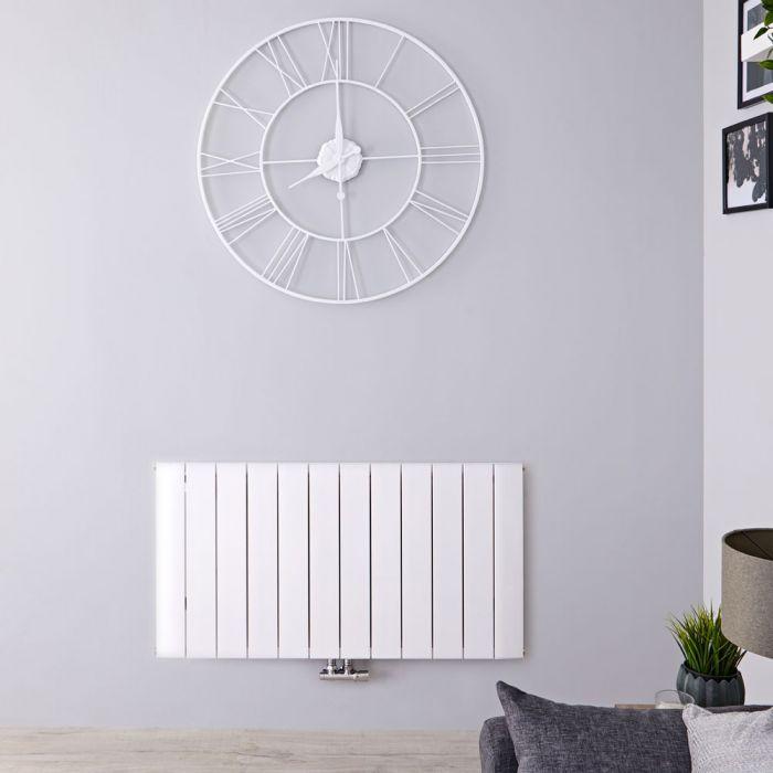 Designradiator Horizontaal Aluminium Middenaansluiting Wit 60cm x 113,5cm 1384 Watt | Aurora