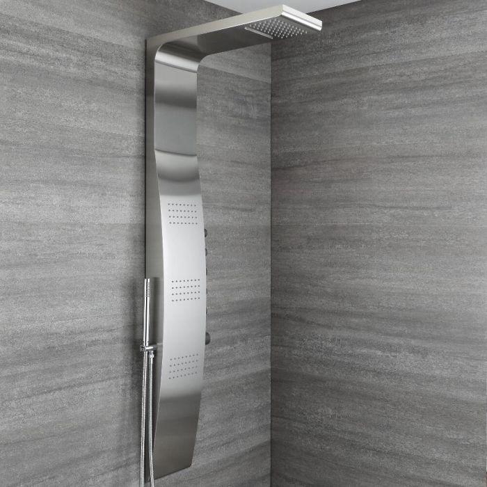 Douchepaneel 5-Weg Thermostatisch met Waterval- en Regenvaleffect Douchekop, Handdouche en 3 x Zijdouches Chroom | Select