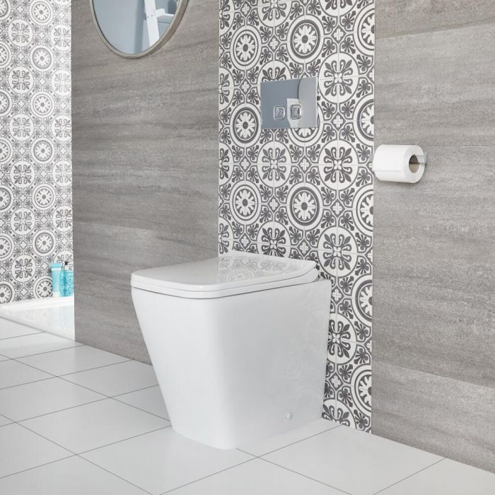 Toilet Staand Vierkant met Zachtsluitende WC-bril Wit   Sandford