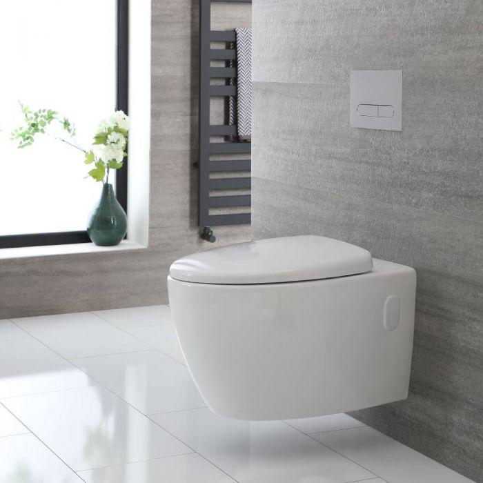 Toilet Hangend Randloos Keramisch met Soft-Close WC-Bril Wit | Kenton