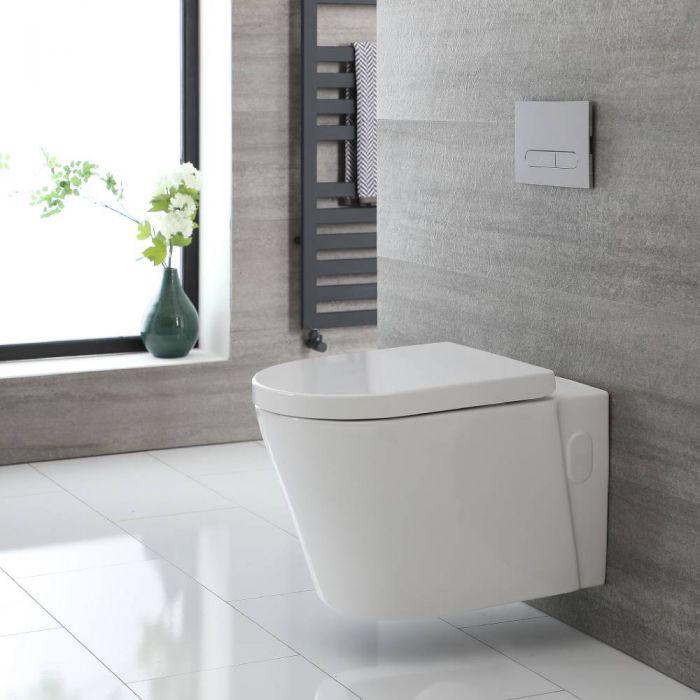 Toilet Hangend Randloos Keramisch met Soft-Close WC-Bril Wit   Exton