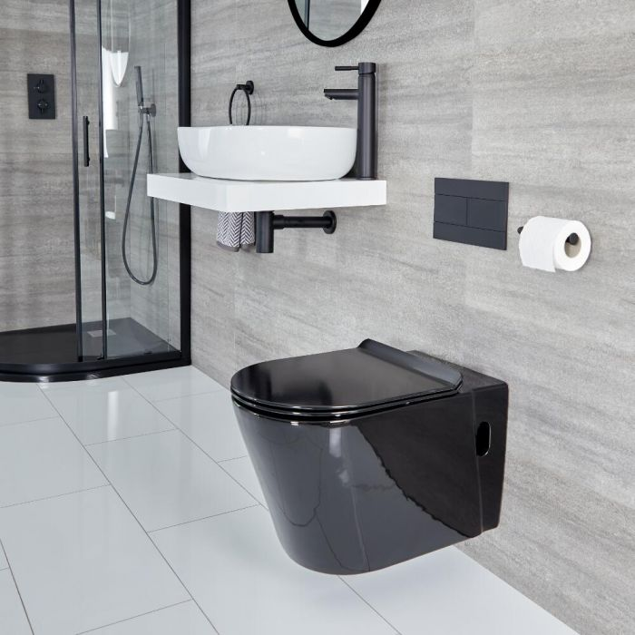 Toilet Hangend Rond Zwart   Nox