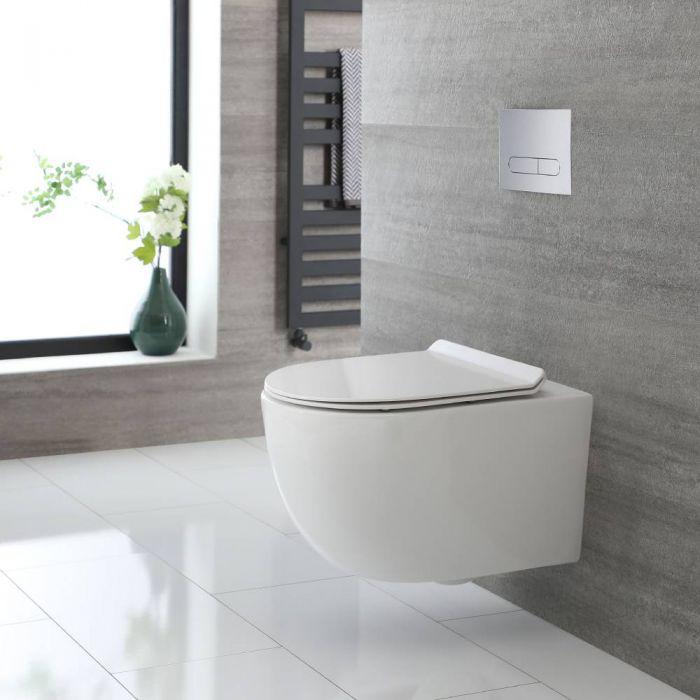 Toilet Hangend Randloos Rond Modern Wit met Softclose WC-bril | Otterton