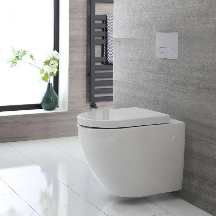 Toilet Hangend Randloos Keramisch met Soft-Close WC-Bril Wit   Ashbury