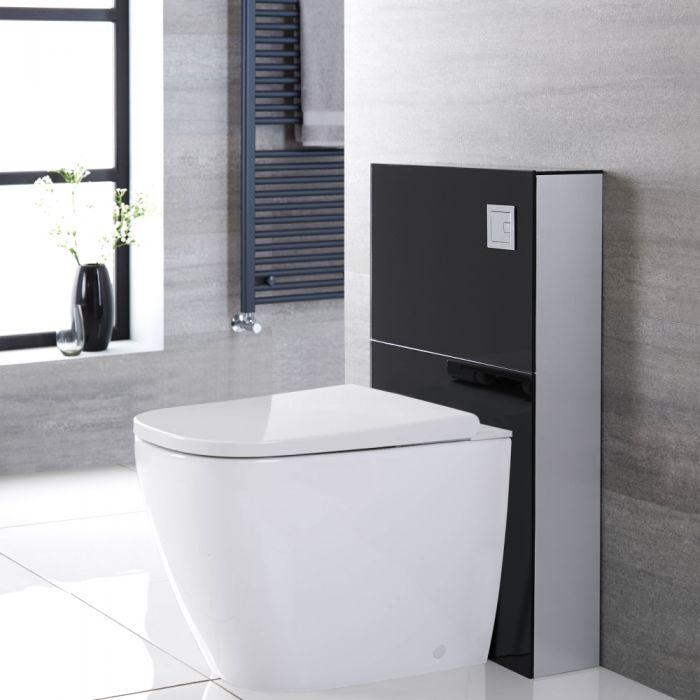 Japans Toilet| Hirayu Stortbak Ombouw Dubbele Spoelknop 3/6 Liter Staand Zwart 50cm | Saru