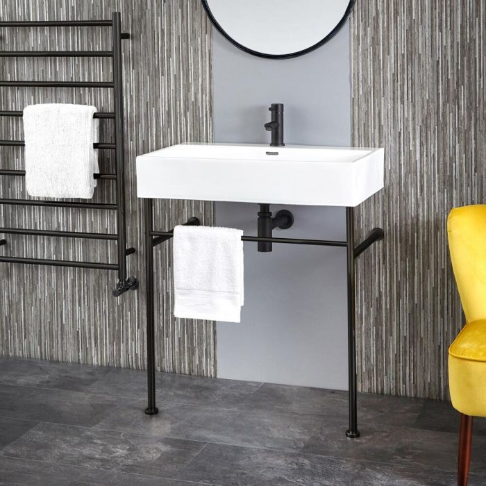 Wastafel 75cm met Stalen Frame Zwart | Sandford