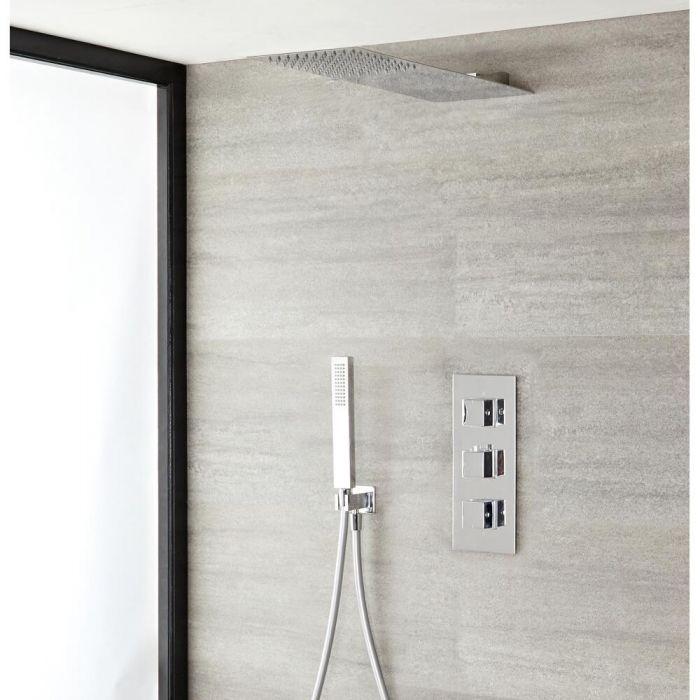 2-weg thermostatisch doucheset zonder omstelkraan (douchekop 20x43cm) | Kubix