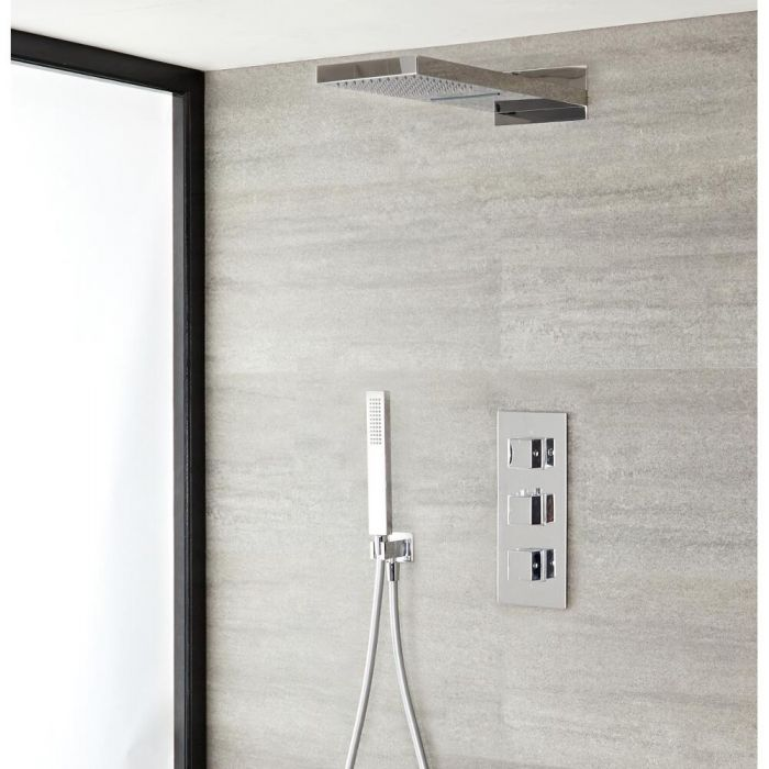3-weg thermostatisch doucheset met omstelkraan met waterval/regen douchekop | Kubix