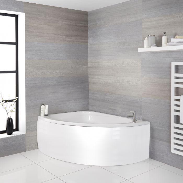 Hoekbad met Zitje Linker Uitvoering Inclusief Badpaneel 150cm x 102cm Wit | Belstone