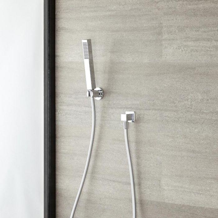 Handdouche met Slang Houder en Aansluitbocht | Kubix