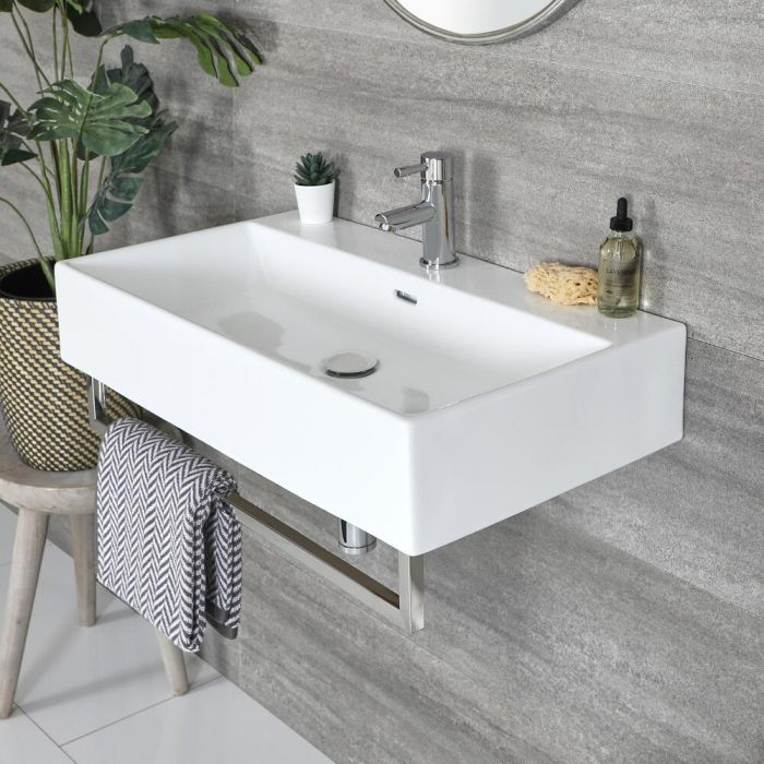 Wastafel Hangend Wit 75x42cm met Chromen Handdoekrek | Sandford