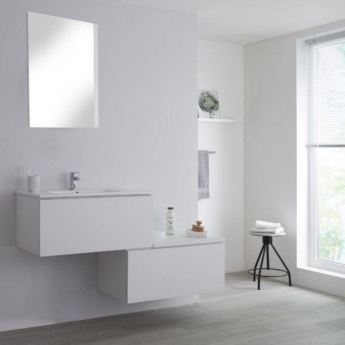 Wastafelmeubel + Enkele Wastafel & Versprongen Onderkast Hangend Wit 140cm – incl/excl. LED - Newington