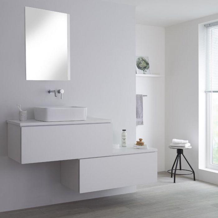 Wastafelmeubel + 1 x Opzetwastafel & Versprongen Onderkast Hangend Wit 160cm – incl/excl. LED - Newington