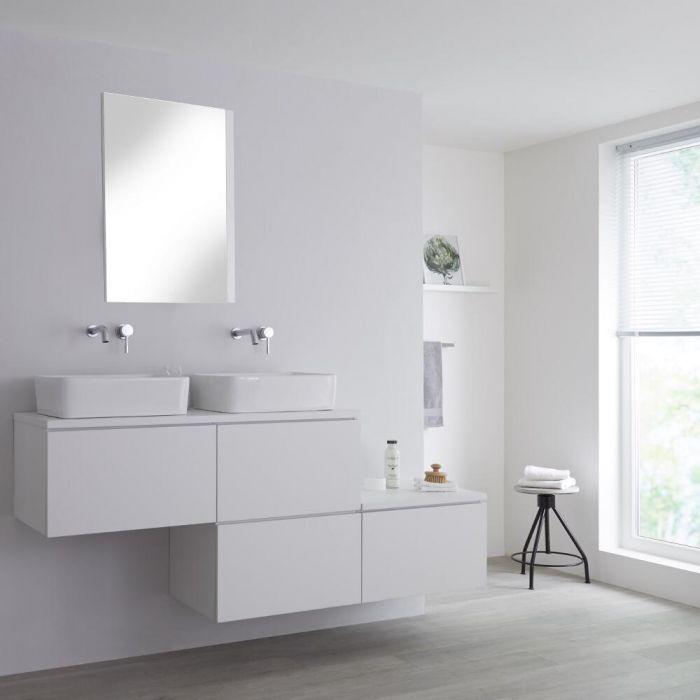 Wastafelmeubel + 2 x Opzetwastafel & Versprongen Onderkast Hangend Wit 180cm – incl/excl. LED - Newington