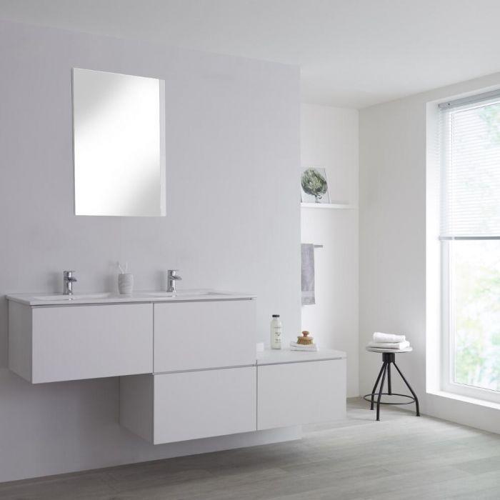 Dubbele Wastafel + Wastafelmeubel & Versprongen Onderkast Hangend Wit 180cm – incl/excl. LED - Newington