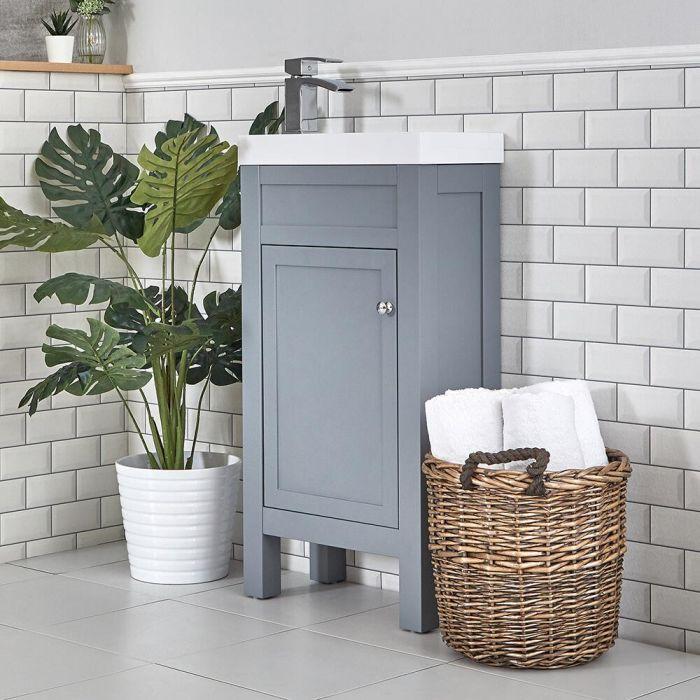 Toiletmeubel met Wasbak 44cm Klassiek Lichtgrijs | Warwick