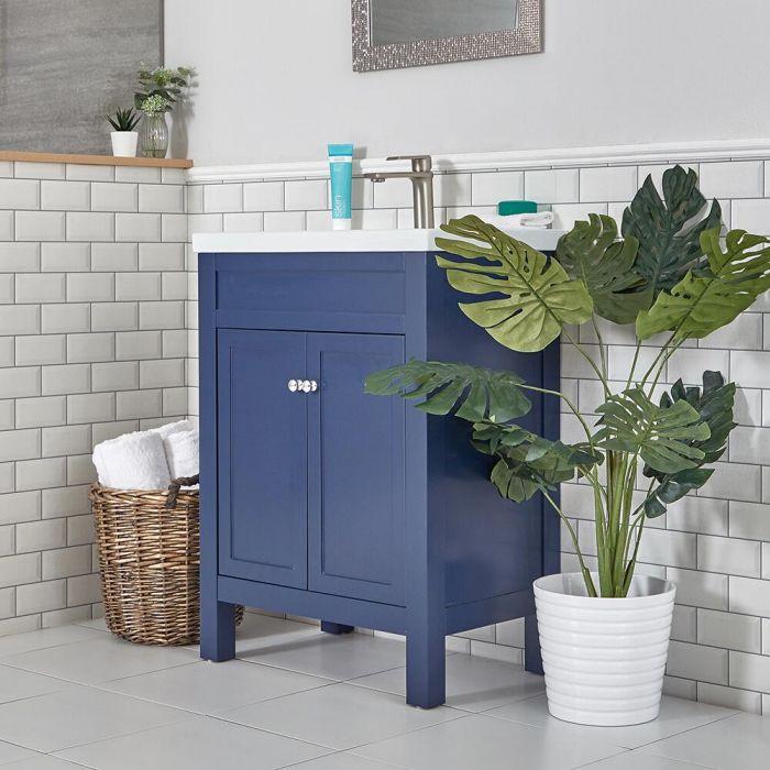 Wastafelmeubel met Wastafel 61,5cm Klassiek Marineblauw | Warwick
