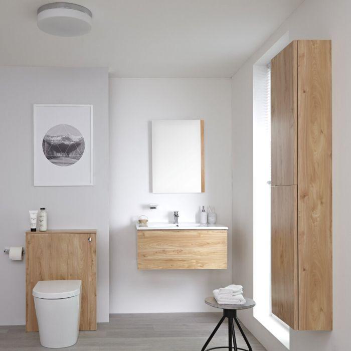 Badkamermeubel Set Hangend 80cm Goud Eiken Incl Wastafelmeubel + Toilet + Stortbak + Ombouw + Kast + Spiegel - incl/excl. LED - Newington