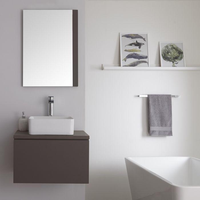 Wastafelmeubel + 1 x Opzetwastafel Hangend Mat Grijs 60cm – incl/excl. LED -Newington