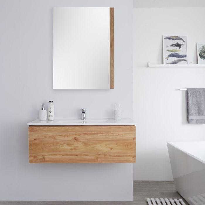 Wastafelmeubel + Enkele Wastafel Hangend Goud Eiken 100cm – incl/excl. LED - Newington