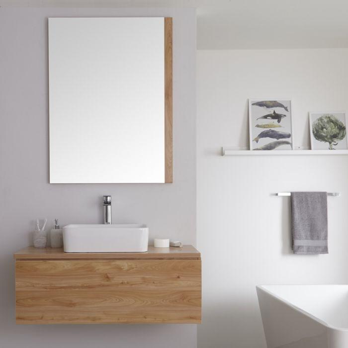 Wastafelmeubel + 1 x Opzetwastafel Hangend Goud Eiken 100cm  – incl/excl. LED -Newington