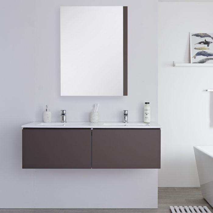 Dubbele Wastafel + Wastafelmeubel Hangend Mat Grijs 120cm – incl/excl. LED - Newington