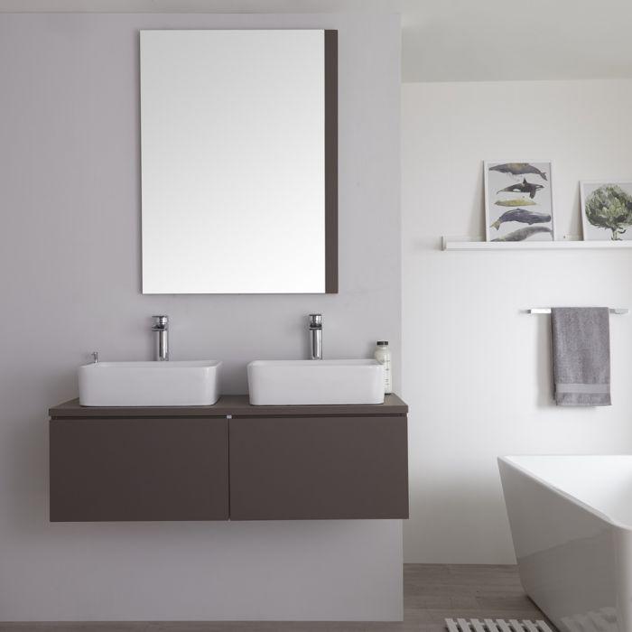 Wastafelmeubel + 2 x Opzetwastafel Hangend Mat Grijs 120cm – incl/excl. LED - Newington