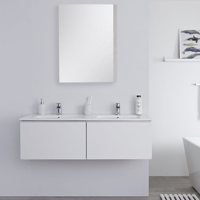 Dubbele Wastafel + Wastafelmeubel Hangend Mat Wit 120cm – incl/excl. LED - Newington
