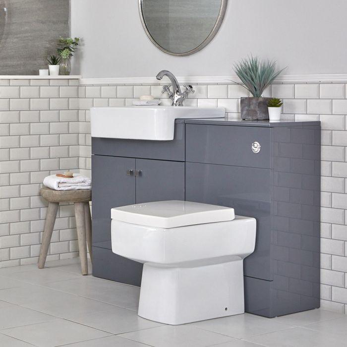 Badkamermeubelset met Wastafelmeubel, WC-ombouw en Staand Toilet Grijs 117cm | Atticus